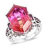 925 Sterling Silver Platinum Plated Fancy Sunset Quartz, Rhodolite Garnet Ring