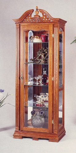 Coaster Home Furnishings Traditional Curio Cabinet, (Oak Traditional Curio Cabinets)
