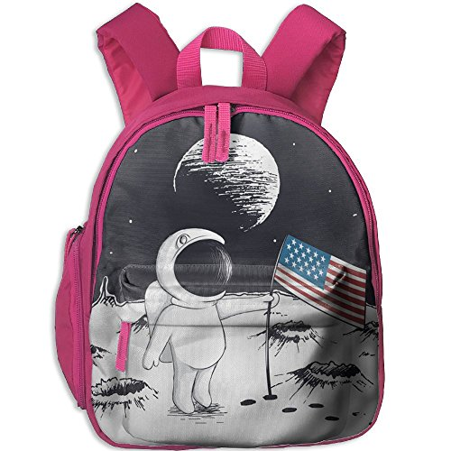 Kids Preschool Backpack Astronaut Keep Usa Flag On Moon Scho