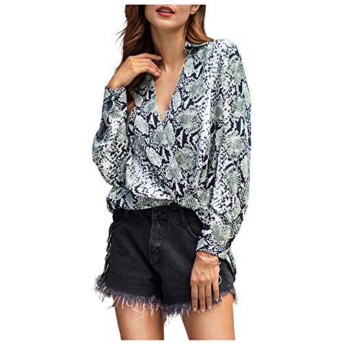 Top Snakeskin Print (Women Snakeskin Print Blouse Sexy V Neck Wrap Front Long Sleeve Loose Chiffon Pullover Shirt Top (Green, XL (US 12~14)))