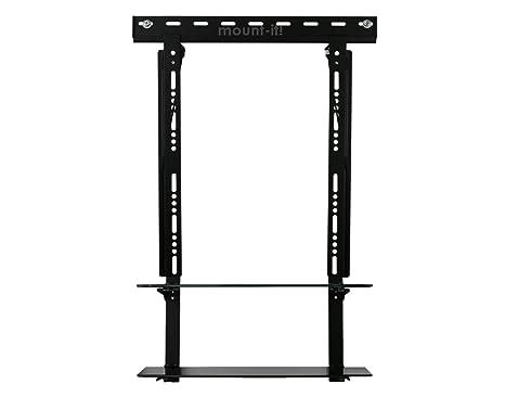 mount it low profile flat panel tv mount glass entertainment center combo 2 - Glass Entertainment Center