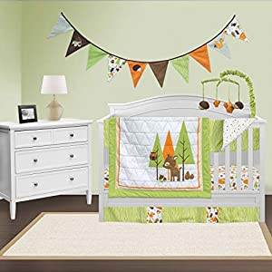 Pam Grace Creations 6 Piece Charming Forest Animals Crib Bedding Set