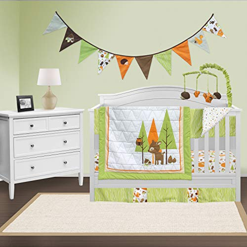Turtle Diaper Stacker - Pam Grace Creations Charming Woodland Forest 6 Piece Crib Bedding Nursery Set, Brown/Tan/Orange
