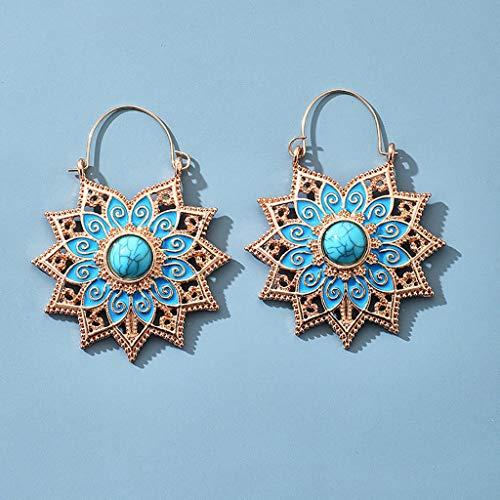 FengdouCZ Ladies Earrings Vintage Bohemian Openwork Round Flower Basket Earrings Fashion Earrings Simple Earrings for Women Girls Gift