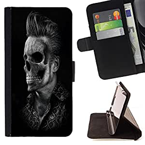 Cat Family ???¡¯?¡­??nico Dise???¡¯???¡Ào caja de la PU billetera de cuero - FOR Samsung Galaxy Core Prime - SKull Man -