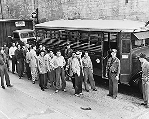 Photo Print 8x10: Zoot Suiters Lined Up Outside Los Angeles Jail En Route To... - 8 Suiter
