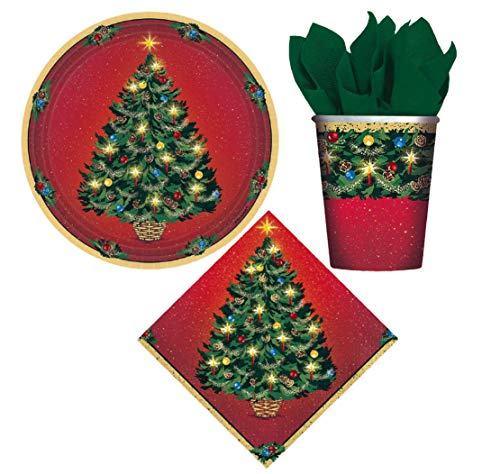 Holiday Christmas Dessert Party Supplies: Bundle Includes Paper Plates, Napkins, and Cups for 8 Guests in a Warmth of Christmas Design (Cup Desserts A Christmas In)