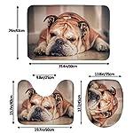 DING English Bulldog Dog Soft Comfort Flannel Bathroom Mats Non-Slip Absorbent Toilet Seat Cover Bath Mat Lid Cover,3pcs/Set Rugs 11