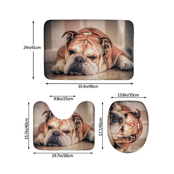 DING English Bulldog Dog Soft Comfort Flannel Bathroom Mats Non-Slip Absorbent Toilet Seat Cover Bath Mat Lid Cover,3pcs/Set Rugs 5