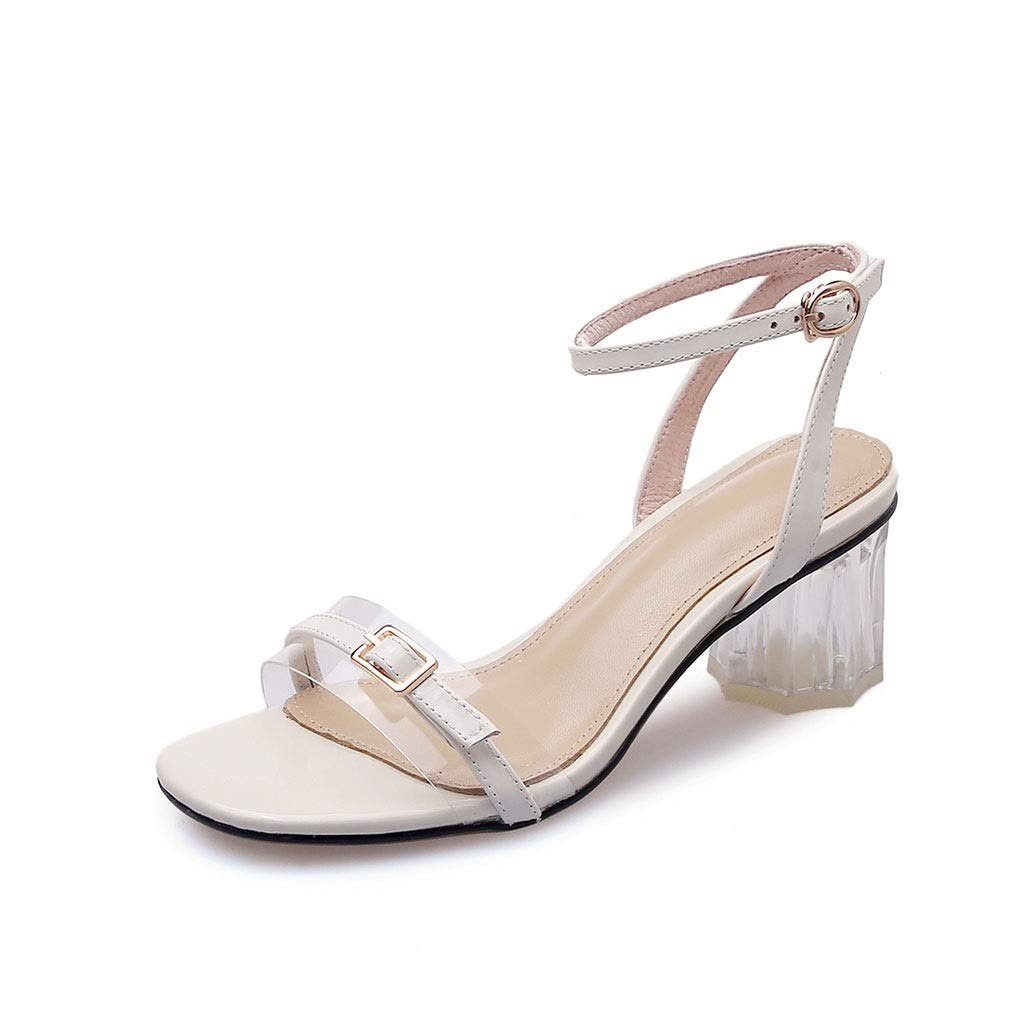 Beige Women's Fashion Thick with High Heels Buckle with Sandals Travel shoes Open Toe Single shoes (color   Beige, Size   34)