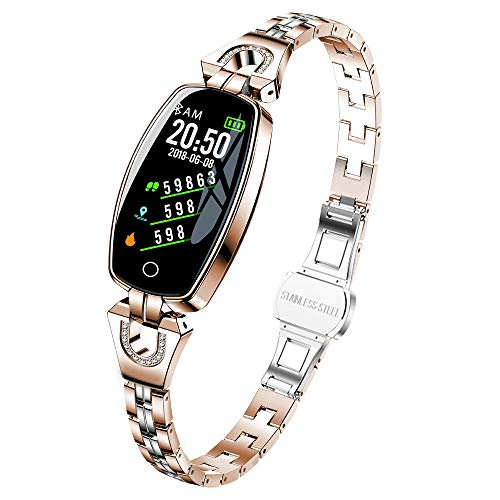 Opef H8 Women Smart Watch for Android iOS Phones with Blood Pressure Monitor, Sleep Monitoring, Heart Rate Monitoring,Call Reminder Waterproof Bracelet (Rose Gold)