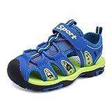 HOBIBEAR Boys Outdoor Closed-Toe Summer Sport Sandals Green/Blue