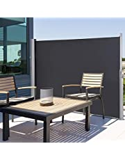 Tangkula Outdoor Patio Retractable Folding Side Screen Awning Waterproof Sun Shade Wind Screen Privacy Divider