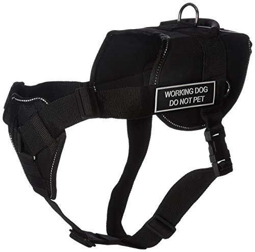 Dean & Tyler D&T FUN-CH WRKDNP RT-XL Fun Dog Harness with Padded Chest Piece, Working Dog Do Not Pet, X-Large, Fits Girth 86cm to 119cm, Black with Reflective Trim by Dean & Tyler