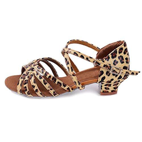 YFF Bambini ragazze sala da ballo latino/scarpe da ballo Tango professionali di salsa con tacco Scarpe Donna ,Leopard,4