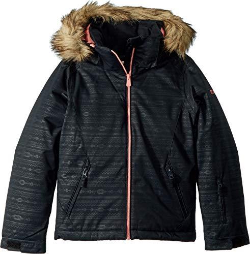 Roxy Little American Pie Girl Embossed Snow Jacket, True Black_Indie Stripes, 12/L