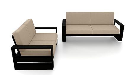 Urban Ladder Parsons Wooden Sofa – 3-2 Set (Finish : Mahogany, Colour : Macadamia Brown): Amazon.in: Home & Kitchen
