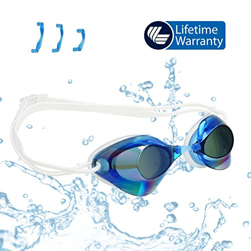 VETOKY Swimming Goggles No Leaking Anti Fog Swims Goggle UV Protection Triathlon Mirrored Racing Goggles for Adult Men Women Youth Kids Child - Swim Like A Pro - High Impact Polycarbonate Interchangeable Lenses