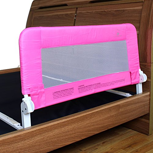 toddler bed rail guard for convertible crib kids twin double full size queen king pink. Black Bedroom Furniture Sets. Home Design Ideas
