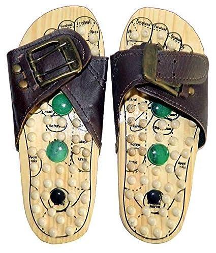 Jk Handicrafts Wooden Foot Acupressure Slipper Massager Acupuncture