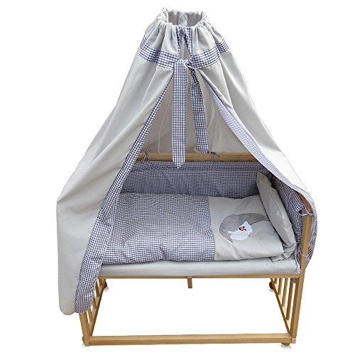 Beistellbett Kinderbett Gitter Himmelbett Babybett Bett Stillbett inkl. 9 tlg. Zubehör (Buche/grau)