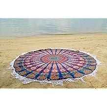 Handicrunch Round Mandala Tassle Fringe Indian Circle of Flowers Tapestry Blue Beach Throw Roundie Yoga Mat Table Cover