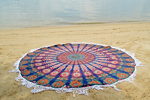 Round Mandala Tassle Fringe Indian Circle of Flowers Tapestry Blue Beach Throw Roundie Yoga Mat Table - Towel Circle
