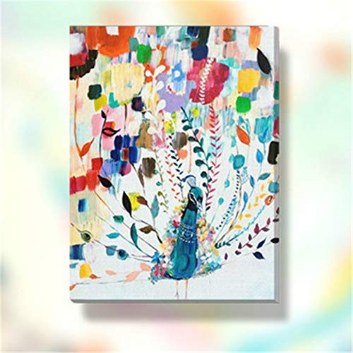 Paint-by-Number Kits for Adults - Colorful Peacock - Includes Brushes, Paints and Numbered Canvas - 16x20 Inch - Great for Kids and Adults,with Frame ()