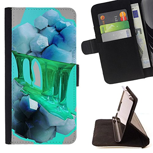 God Garden - FOR Apple Iphone 6 - Rock - Glitter Teal Purple Sparkling Watercolor Personalized Design Custom Style PU Leather Case Wallet Fli