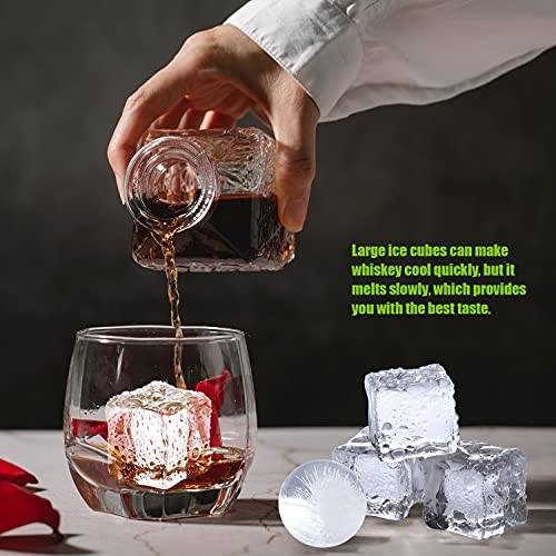XCDHPCS Large Ice Cube Molds,Silicone Whiskey Ice Cube Trays with Lid,Sphere Ice Cube Ball Maker Mold with Built-in Funnel,Keep Drinks Chilled,BPA Free