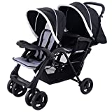 Costzon Foldable Double Stroller Baby Infant Pushchair Travel Jogger w Storage Basket