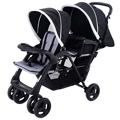 Costzon Foldable Double Stroller Baby Infant Pushchair Travel Jogger w/Storage Basket by Costzon