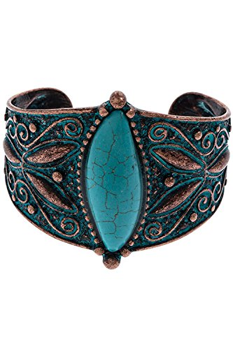 TRENDY FASHION JEWELRY FAUX STONE FILIGREE ETCHED CUFF BRACELET BY FASHION DESTINATION | (Copper/Turquoise)