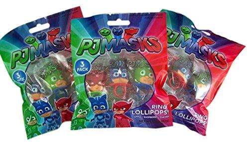 PJ Masks Character Shaped Ring Pop Lollipops, 1.5 oz, 3 Packs of 3