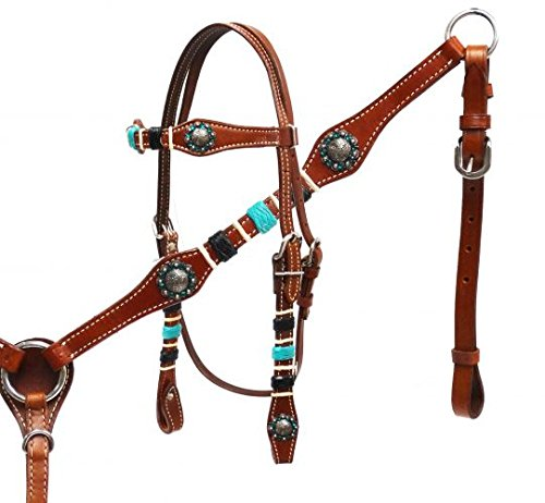 Braided Rawhide Headstall - Showman Medium Leather Headstall and Breast Collar Set with Braided Rawhide
