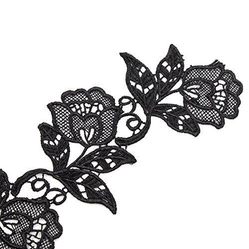 Floral Motifs Boho Black Lace Applique Trim Sequins Flower Embroidery Applique Sewing Craft,2 Yards