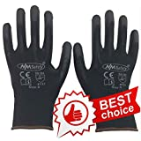 N/M Safety Products PU1350-BLK/12 Gloves Nylon Glove, Black Foam Nitrile Coating, Knit Wrist Cuff, Large, Size 9, Single Pair