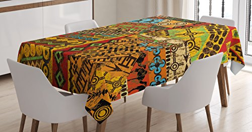(Ambesonne African Tablecloth, Grunge Collage with Ethnic Motifs Tribal Ancient Traditional Art Ornate Geometric, Dining Room Kitchen Rectangular Table Cover, 52 W X 70 L Inches, Multicolor)