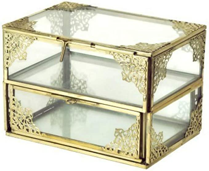 CAPRILO Elegante Caja Decorativa Rectangular de Cristal y Metal Retro. Joyeros. Adornos y Esculturas. Decoración Hogar. 11 x 16 x 11 cm.: Amazon.es: Hogar