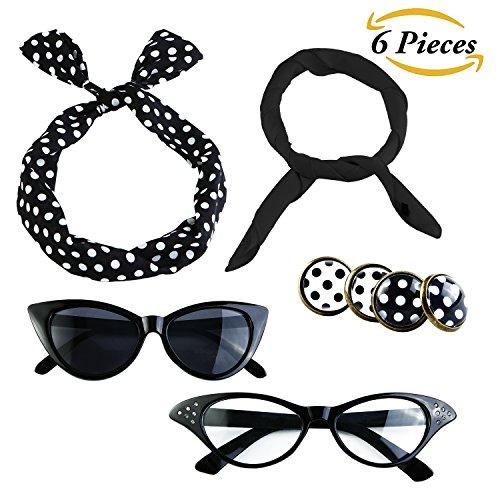 Aneco 6 Pack 50s Set Chiffon Scarf Cat Eye Glasses Bandana Tie Headband Earrings (Black)
