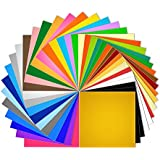 """Vinyl Sheets 40 Pack 12"""" x 12"""" Premium Permanent Self Adhesive Vinyl Sheets for Cricut,Silhouette Cameo,Craft Cutters,Printers,Letters,Decals (36 Matte Color)"""