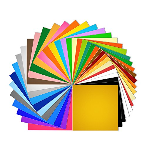 """(Vinyl Sheets 40 Pack 12"""" x 12"""" Premium Permanent Self Adhesive Vinyl Sheets for Cricut,Silhouette Cameo,Craft Cutters,Printers,Letters,Decals (36 Matte Color))"""