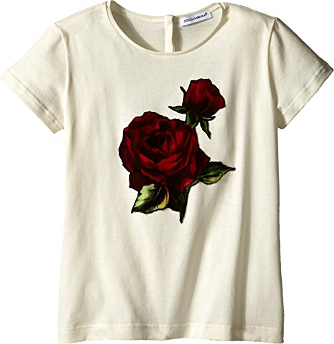 Dolce & Gabbana Kids Baby Girl's Jersey T-Shirt w/Applique Rose (Toddler/Little Kids) White 4T Toddler by Dolce & Gabbana