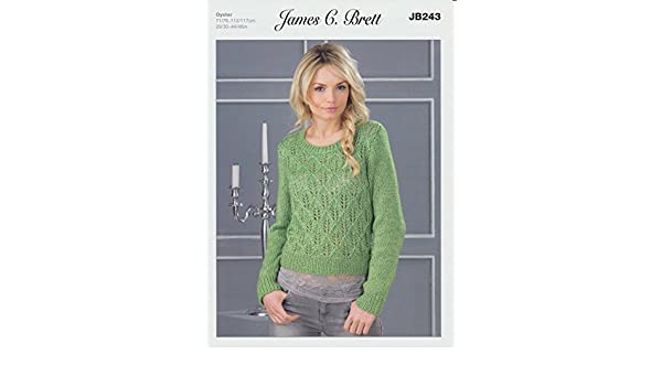 758611ed9 James C Brett JB243 Oyster patrón para tejer Aran Jersey para mujer ...
