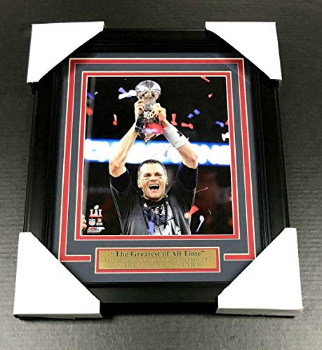 (TOM BRADY 6X CHAMPION NEW ENGLAND PATRIOTS 8x10 PHOTO FRAMED LOMBARDI TROPHY)