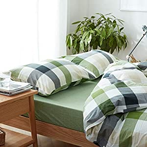 DONEUS Green Duvet Cover Queen, 100% Washed Cotton 3 Piece Grid Patterns Duvet Cover Sets, 1 Duvet Cover and 2…