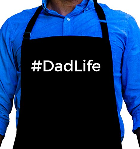 Dad Apron (BBQ Grill Apron - #DadLife - Funny Apron For Dad - 1 Size Fits All Chef Apron High Quality Poly/Cotton 4 Utility Pockets, Adjustable Neck and Extra Long Waist Ties)