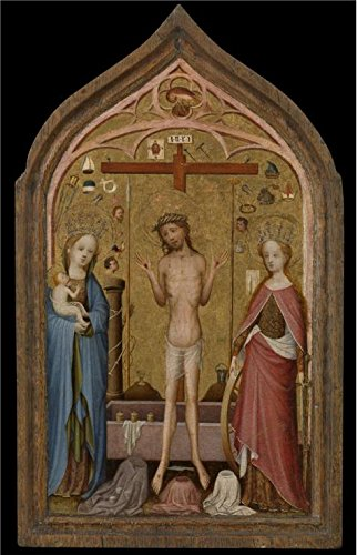 'Master Of The Holy Veronica,Man Of Sorrows With Madonna And Saint Catherine Of Alexandria,ca.1400-1420' Oil Painting, 30x47 Inch / 76x118 Cm ,printed On High Quality Polyster Canvas ,this Replica Art DecorativeCanvas Prints Is Perfectly Suitalbe For Powder Room Decoration And Home Decoration And