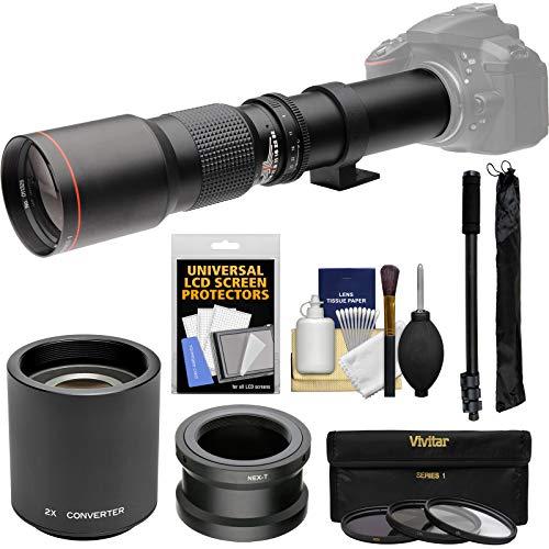 Vivitar 500mm f/8.0 Telephoto Lens with 2X Teleconverter (=1000mm) + Monopod + 3 Filters Kit for Sony Alpha E-Mount Digital Cameras