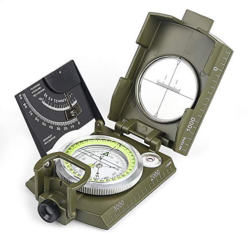 BIJIA Multifunctional Sighting Compass for Hiking,Metal Military Waterproof High Accuracy Lensatic Compass with Clinometer and Bubble Level for Hiking, Climbing, Boating, Exploring, Hunting, Geology - Metal Lensatic Compass